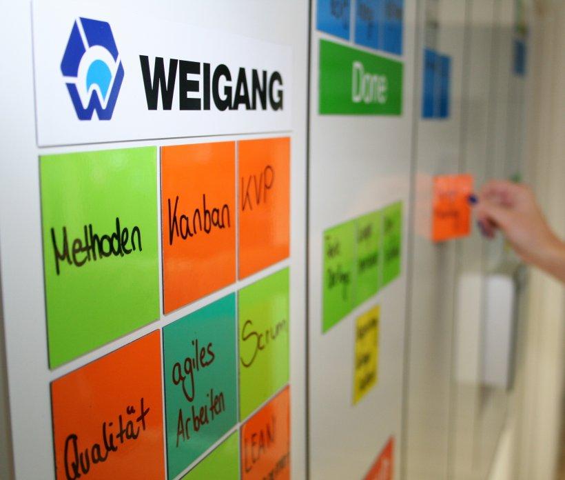 Bunte TaskCards von WEIGANG auf einer Tafel.